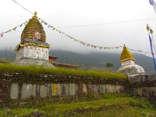 Stupas with watchful Buddha eyes.