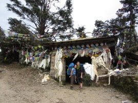 Prayer flag clad gate