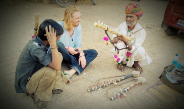Ever the musician Jamie attempted to master the desert sitar.