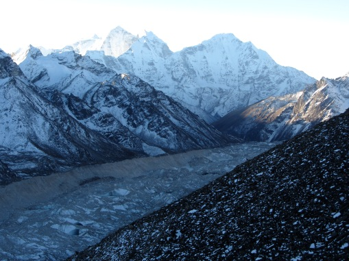 Stunning view of the Khumbu glacier, the ancient ice river that carves though the largest mountains on earth.
