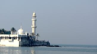 Haji Ali an all white island of faith jettying off the shore of mad Mumbai.
