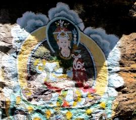 bodhisattva's painting on stone clifs